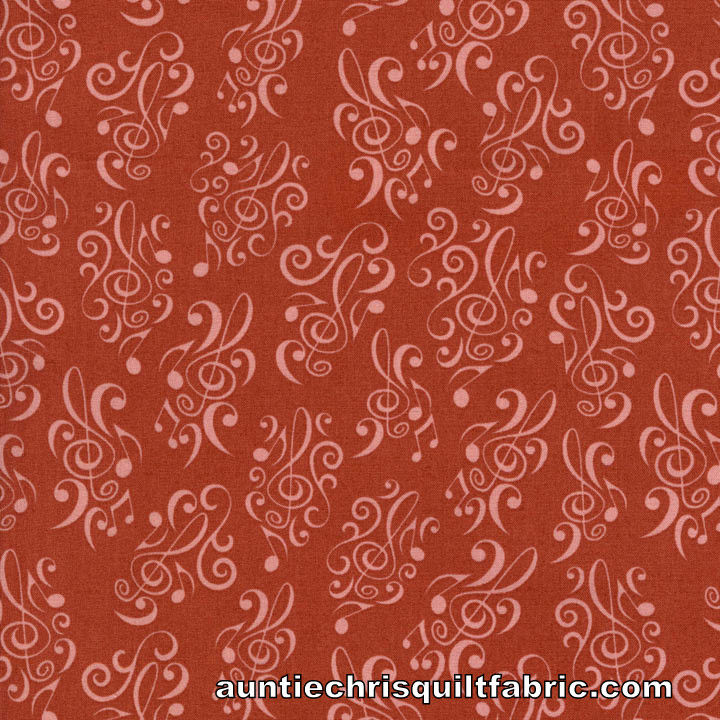Cotton Quilt Fabric Dan Morris Perfect Pitch Music Notes Rust  - product image