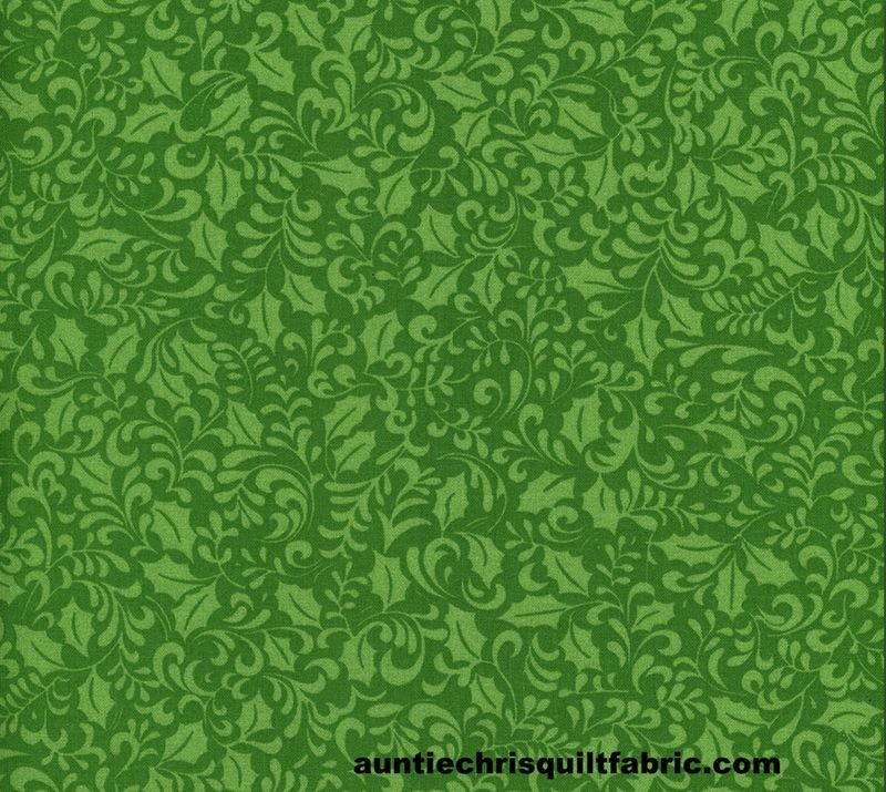 Cotton Quilt Fabric Holly Jolly Christmas Green On Green Holly  - product image