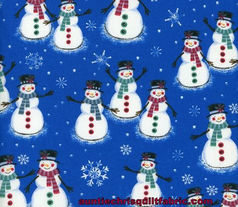 Cotton,Quilt,Fabric,Christmas,Cheer,Snowman,Snowflakes,Blue,,quilt backing, dresses, quilt fabric,cotton material,auntie chris quilt,sewing,crafts,quilting,online fabric,sale fabric