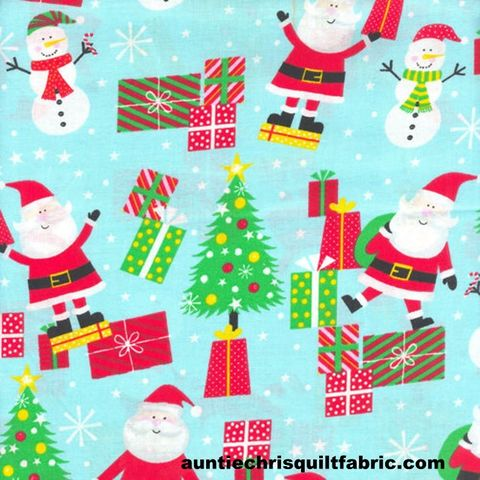 Cotton,Quilt,Fabric,Christmas,Cheer,Santa,&,Gifts,Blue,Multi,,quilt backing, dresses, quilt fabric,cotton material,auntie chris quilt,sewing,crafts,quilting,online fabric,sale fabric