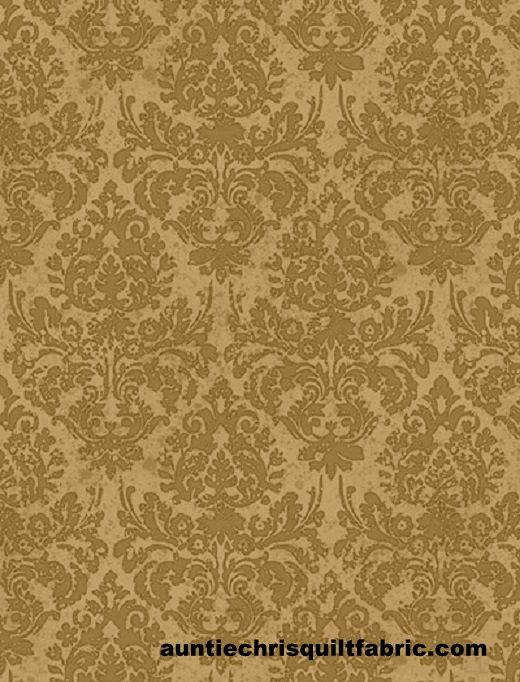 Cotton Quilt Fabric Words to Live By Floral Damask Tan/Brown Tonal - product images  of