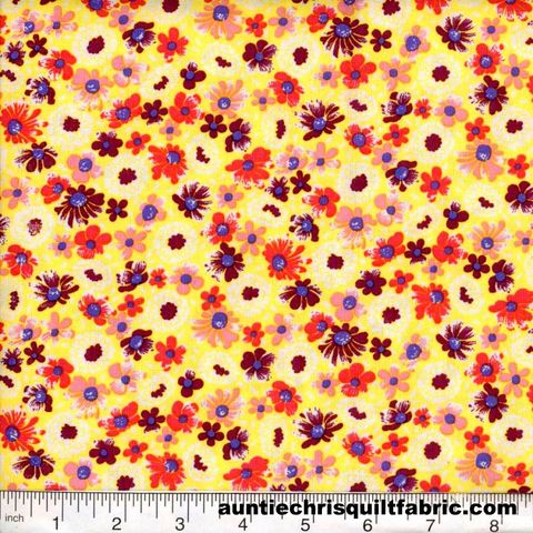 Cotton,Quilt,Fabric,Quilters,Calico,Flowers,323,Yellow,Pink,Lilac,Floral,,quilt backing, dresses, quilt fabric,cotton material,auntie chris quilt,sewing,crafts,quilting,online fabric,sale fabric