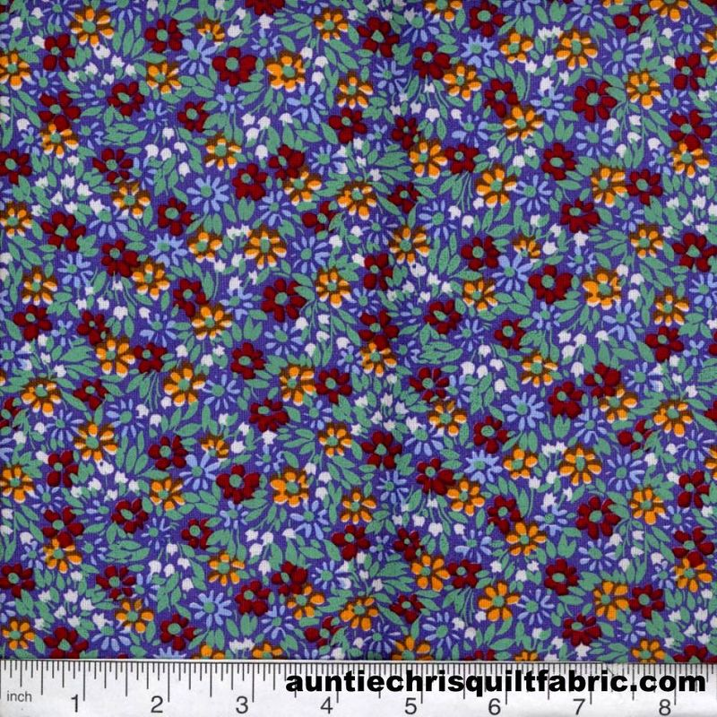 Cotton Quilt Fabric Quilters Calico Flowers 312 Lavender Floral - product image