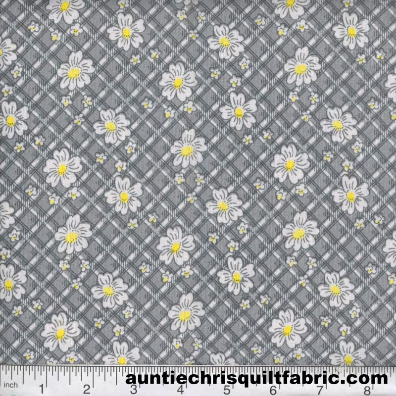 Cotton Quilt Fabric Quilters Calico Flowers 307 Gray Floral - product image