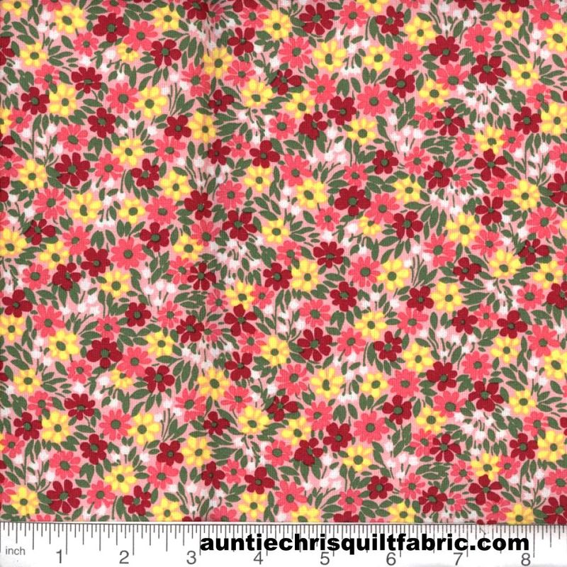 Cotton Quilt Fabric Quilters Calico Flowers 314 Pink red Floral - product image