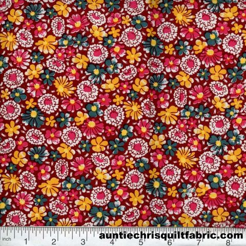 Cotton,Quilt,Fabric,Quilters,Calico,Flowers,322,Maroon,Floral,,quilt backing, dresses, quilt fabric,cotton material,auntie chris quilt,sewing,crafts,quilting,online fabric,sale fabric