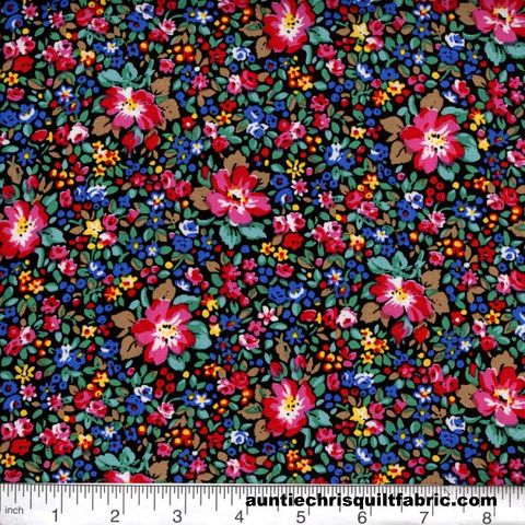 Cotton,Quilt,Fabric,Quilters,Calico,Flowers,360,Black,Blue,Floral,,quilt backing, dresses, quilt fabric,cotton material,auntie chris quilt,sewing,crafts,quilting,online fabric,sale fabric