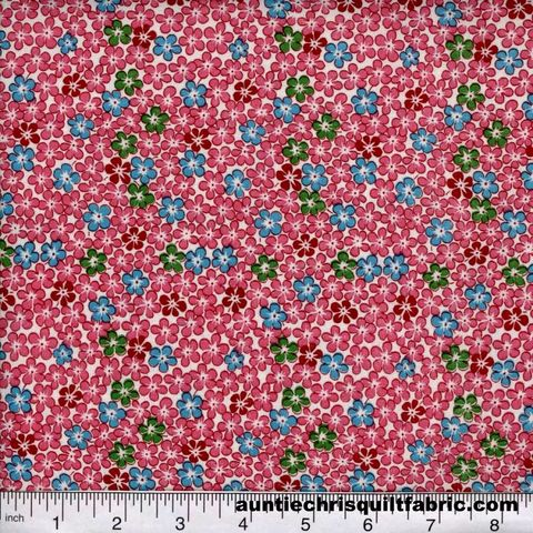Cotton,Quilt,Fabric,Quilters,Calico,Flowers,240,Pink,red,Floral,,quilt backing, dresses, quilt fabric,cotton material,auntie chris quilt,sewing,crafts,quilting,online fabric,sale fabric