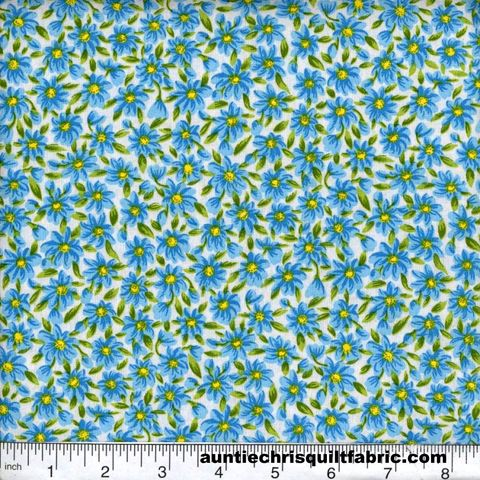 Cotton,Quilt,Fabric,Quilters,Calico,Flowers,375,Blue,White,Floral,,quilt backing, dresses, quilt fabric,cotton material,auntie chris quilt,sewing,crafts,quilting,online fabric,sale fabric