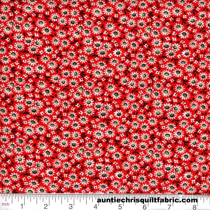 Cotton Quilt Fabric Quilters Calico Flowers 298 Red Floral - product image