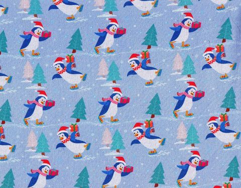 Cotton,Quilt,Fabric,Christmas,Classics,Holiday,Penguines,Blue,,quilt backing, dresses, quilt fabric,cotton material,auntie chris quilt,sewing,crafts,quilting,online fabric,sale fabric