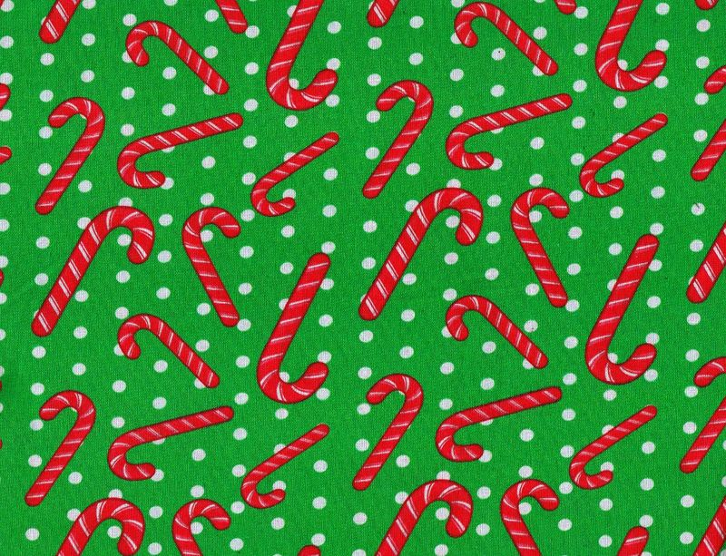 Cotton Quilt Fabric Christmas Classics Dotty Candy Canes Green - product image
