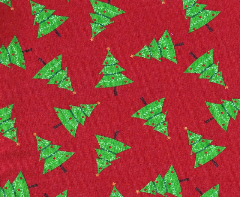Cotton Quilt Fabric Christmas Traditional Scattered Christmas Trees Red - product image