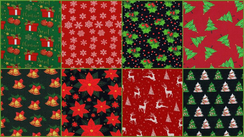 Cotton Quilt Fabric Fat Quarter Medley Traditional Christmas 2 Yards - product images  of