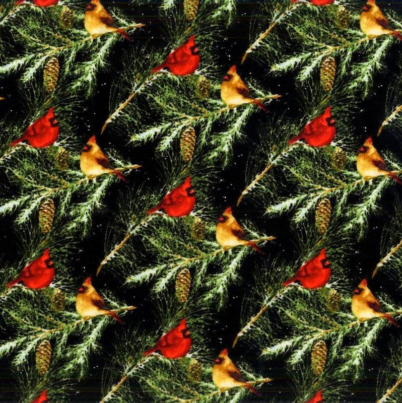 Cotton Quilt Fabric 2 Ply Flannel Henry Glass Snow Bird Cardinals on Branches - product images  of