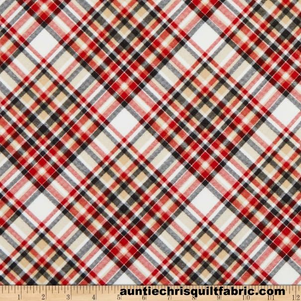 Cotton Quilt Fabric 2 Ply Flannel Henry Glass Gnomies  Bias Plaid - product images  of