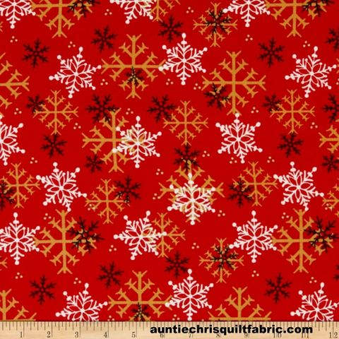 Cotton,Quilt,Fabric,2,Ply,Flannel,Henry,Glass,Gnomies,Snowflakes,Red,,quilt backing, dresses, quilt fabric,cotton material,auntie chris quilt,sewing,crafts,quilting,online fabric,sale fabric