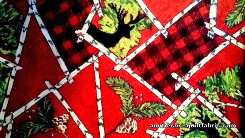 Cotton Quilt Fabric 2 Ply Flannel RUSTIC RETREAT Moose Deer Cabin Lodge - product images  of