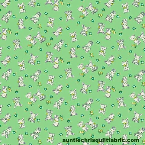 Cotton,Quilt,Fabric,NANA,MAE,IV,Tossed,Bunnies,and,Bears,Green,Thirties,,quilt backing, dresses, quilt fabric,cotton material,auntie chris quilt,sewing,crafts,quilting,online fabric,sale fabric