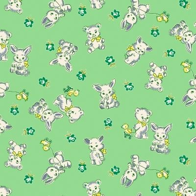 Cotton Quilt Fabric NANA MAE IV Tossed Bunnies and Bears Green Thirties - product images  of