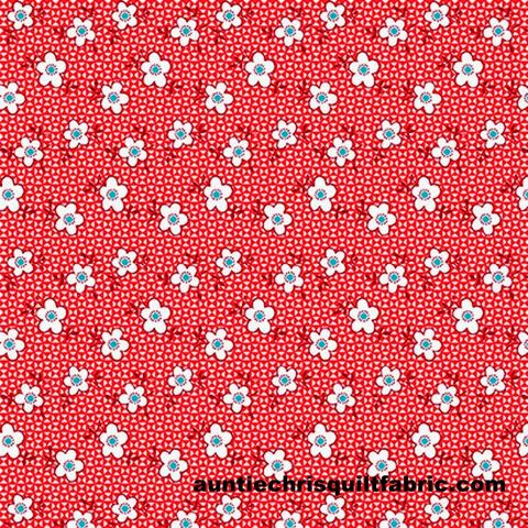Cotton,Quilt,Fabric,NANA,MAE,III,Thirties,reproduction,Spaced,Daisy,Red,Blue,,quilt backing, dresses, quilt fabric,cotton material,auntie chris quilt,sewing,crafts,quilting,online fabric,sale fabric