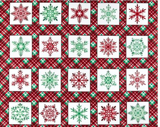 Cotton Quilt Fabric Hometown Holiday Christmas Panel Plaid Snowflake Blocks - product images  of