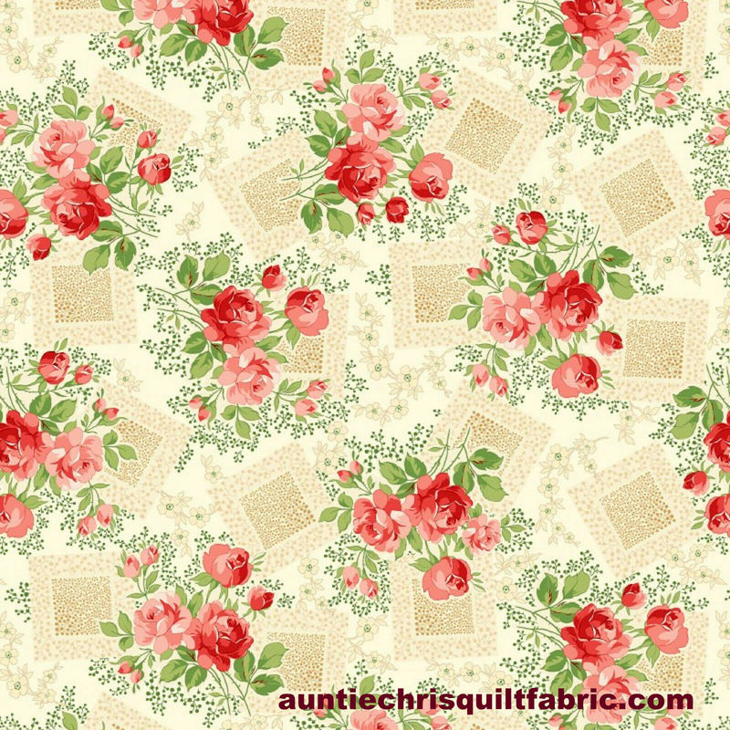 Cotton Quilt Fabric Violet's Garden Rose Floral CREAM  - product images  of