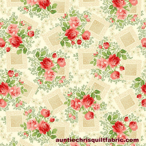 Cotton,Quilt,Fabric,Violet's,Garden,Rose,Floral,CREAM,,quilt backing, dresses, quilt fabric,cotton material,auntie chris quilt,sewing,crafts,quilting,online fabric,sale fabric
