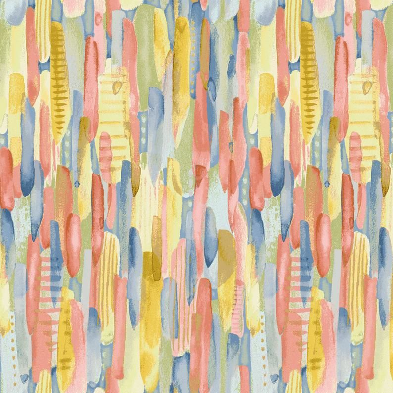 Cotton Quilt Fabric Blessings Collection Multi-Colored Brush Stroke Pastel - product images  of