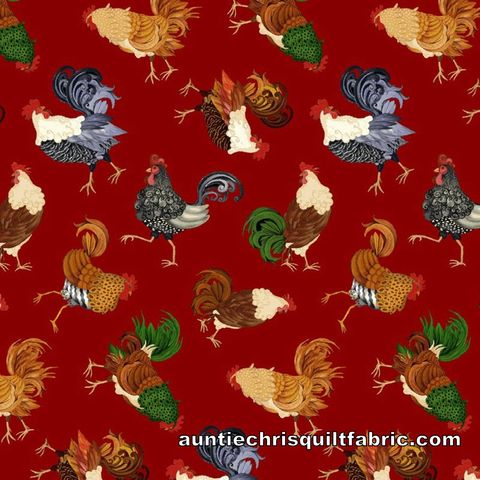 Cotton,Quilt,Fabric,Farm,Raised,Tossed,Chickens,and,Roosters,Red,,quilt backing, dresses, quilt fabric,cotton material,auntie chris quilt,sewing,crafts,quilting,online fabric,sale fabric