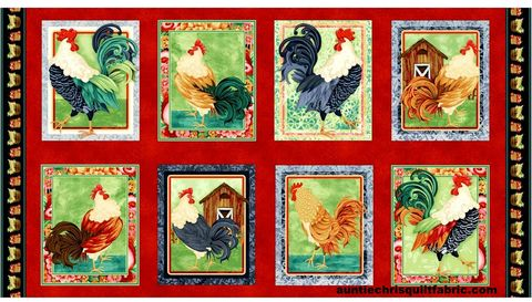 Cotton,Quilt,Fabric,Farm,Raised,24,Panel,Chickens,and,Roosters,Red,,quilt backing, dresses, quilt fabric,cotton material,auntie chris quilt,sewing,crafts,quilting,online fabric,sale fabric