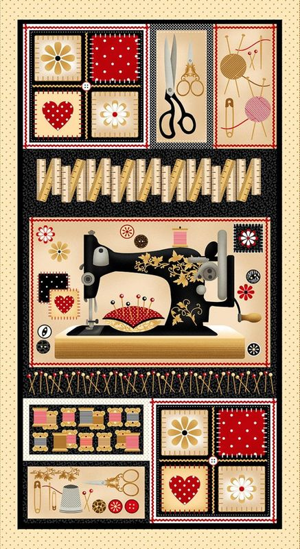 "Cotton Quilt Fabric Sewing Mends the Soul Sewing Machine 24"" Panel - product images  of"