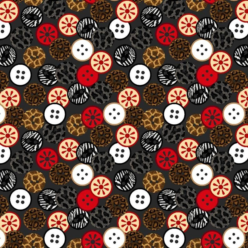 Cotton Quilt Fabric Sewing Mends the Soul Buttons Charcoal Gray Multi - product images  of