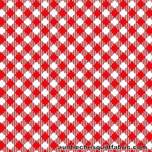 Cotton Quilt Fabric Best Friends Farm Red White Gingham Check - product images  of