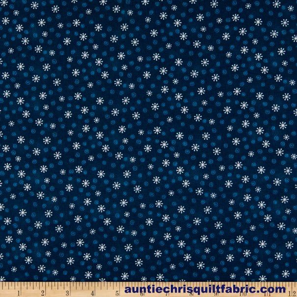 Cotton Quilt Fabric My Red Wagon Small Winter Snowflakes Navy Blue - product images  of