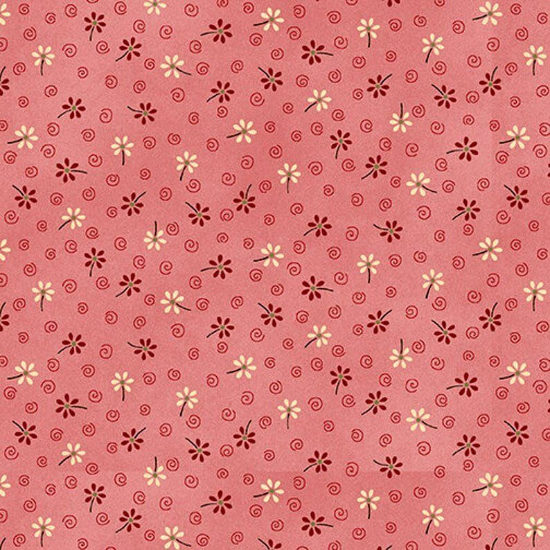 Cotton Quilt Fabric My Red Wagon Spring Floral Pink Red - product images  of