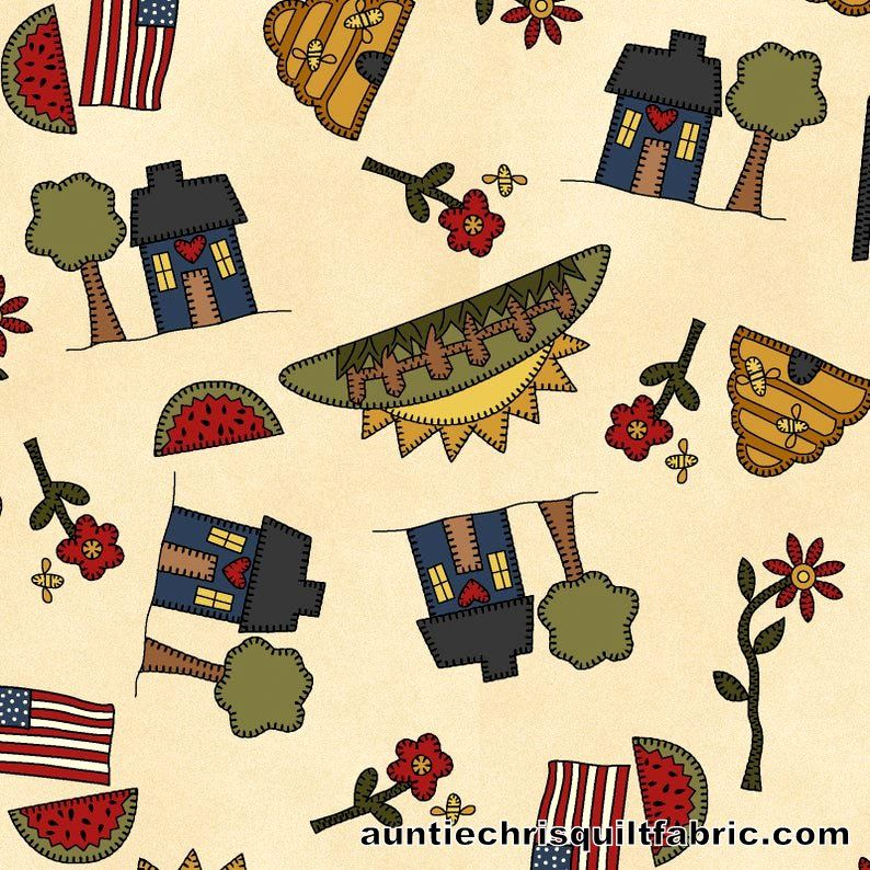 Cotton Quilt Fabric My Red Wagon Summer Novelty Toss on Cream - product images  of