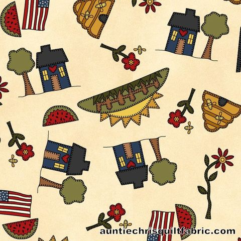 Cotton,Quilt,Fabric,My,Red,Wagon,Summer,Novelty,Toss,on,Cream,,quilt backing, dresses, quilt fabric,cotton material,auntie chris quilt,sewing,crafts,quilting,online fabric,sale fabric