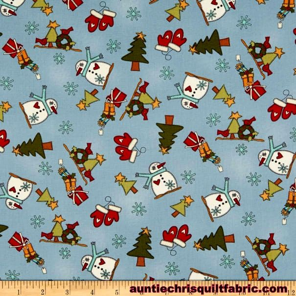 Cotton Quilt Fabric My Red Wagon Winter Novelty Toss Christmas - product images  of