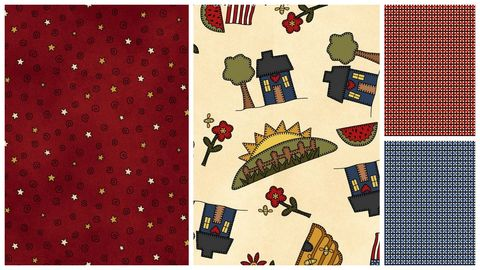 Quick,Cuts,Cotton,Quilt,Fabric,My,Red,Wagon,Summer,2,Yard,Medley,,quilt backing, dresses, quilt fabric,cotton material,auntie chris quilt,sewing,crafts,quilting,online fabric,sale fabric