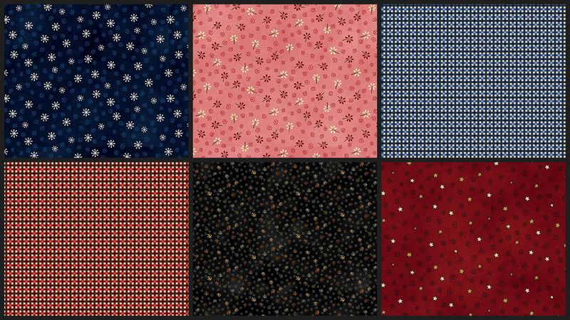 Cotton Quilt Fabric My Red Wagon Folk Art Minis Fat Quarter Medley  - product images  of