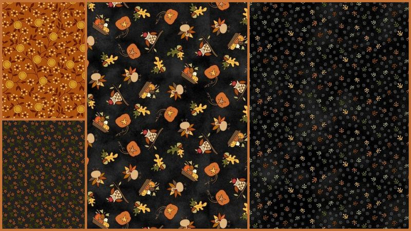 Quick Cuts Cotton Quilt Fabric Autumn Nights Folk Art 2 Yard Medley  - product images  of