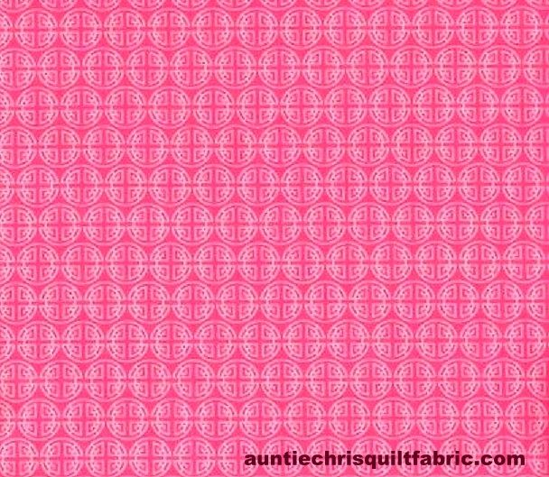 Cotton Quilt Fabric Chinese Coins Asian Pink  - product images  of