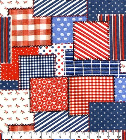 Cotton,Quilt,Fabric,Flannel,Americana,Patch,Patriotic,Red,White,Blue,,quilt backing, dresses, quilt fabric,cotton material,auntie chris quilt,sewing,crafts,quilting,online fabric,sale fabric