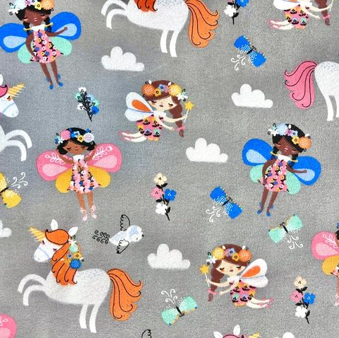 Cotton,Quilt,Fabric,Flannel,Floral,Crown,Fairies,Gray,Multi,,quilt backing, dresses, quilt fabric,cotton material,auntie chris quilt,sewing,crafts,quilting,online fabric,sale fabric