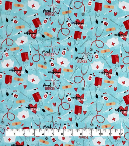 Cotton,Quilt,Fabric,Flannel,Coffee,&,Scrubs,Nurse,Heroes,Blue,Multi,,quilt backing, dresses, quilt fabric,cotton material,auntie chris quilt,sewing,crafts,quilting,online fabric,sale fabric