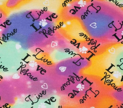 Cotton,Quilt,Fabric,Flannel,Live,Love,Pet,Rescue,Tie,Dye,Multi,,quilt backing, dresses, quilt fabric,cotton material,auntie chris quilt,sewing,crafts,quilting,online fabric,sale fabric