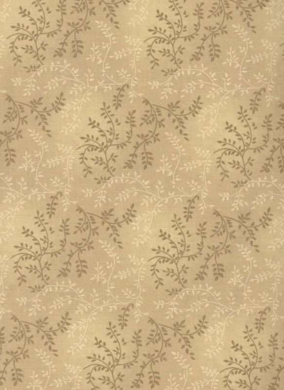 Cotton Quilt Fabric Tonal Vineyard Vines Leaves Tone On Tone Lt Brown - product images  of
