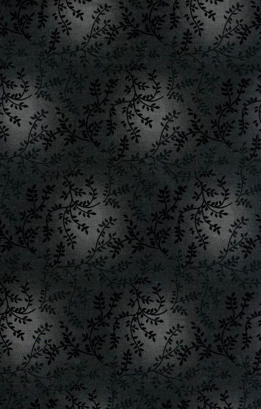 Cotton Quilt Fabric Tonal Vineyard Vines Leaves Tone On Tone Dark Gray - product images  of