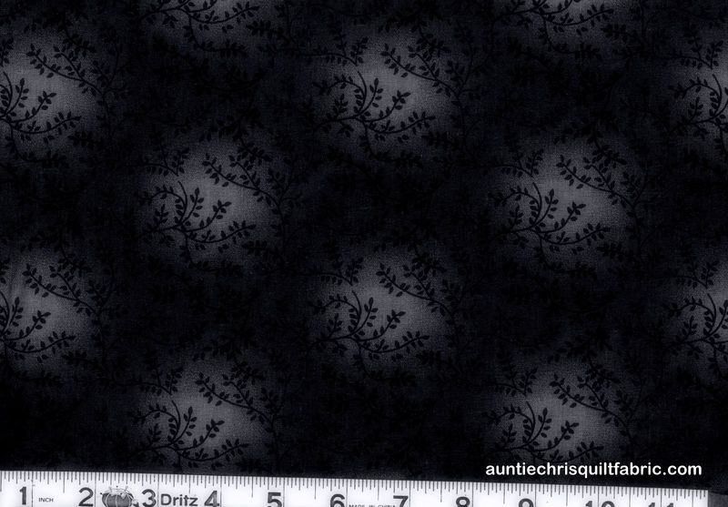 Cotton Quilt Fabric Tonal Vineyard Vines Leaves Tone On Tone Black - product images  of